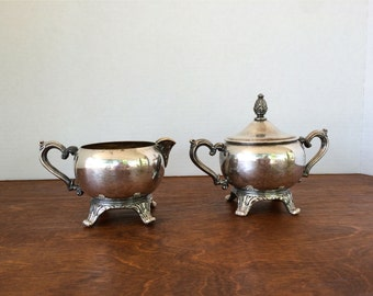 Vintage Silver Plated Cream and Sugar Set with Pineapple Finial