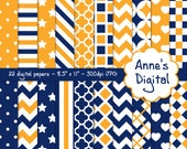 "Blue and Gold Digital Papers - Matching Solids Included - 22 Papers - 8.5"" x 11"" - Instant Download - Commercial Use (091)"