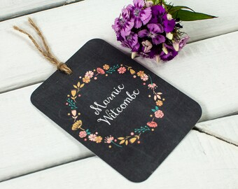 Chalkboard floral luggage tag place card
