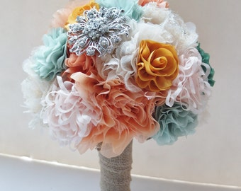Shabby Chic Fabric Flower Bouquet- Peach,  Fabric Flower Bouquet