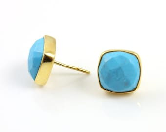 Natural Turquoise Ear Studs, 24K Gold Vermeil Over Sterling Silver, 13x9mm, 1Pair, (ST/TURQ/02)
