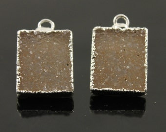 Dazzling Druzy Shapes in Stunning Earth Tones, 12x15mm, A+ Gorgeous Quality, Silver Electroplated Edge, 1 Matching Pair (DZY/PR/265)