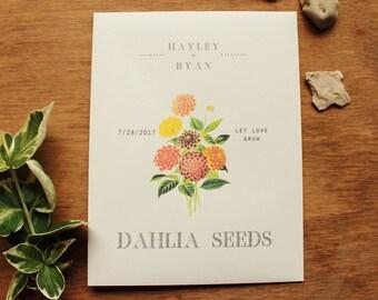 Seed Envelopes Dahlia or Zinnia Flower Favor