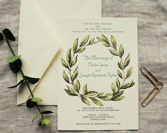 Olive Leaf Wreath Wedding Invitation Printable Or Ship