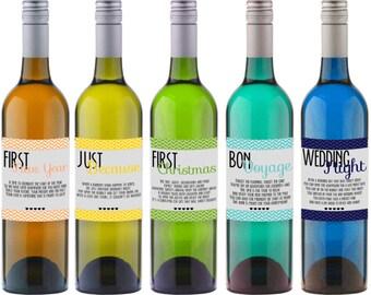 """INSTANT DOWNLOAD Wedding """"Firsts""""  Wine Bottle Labels Poems Gift - Set of 9 labels - Digital DIY Printable"""