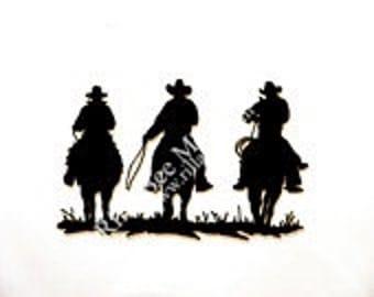 Three Cowboys Metal Art Sign