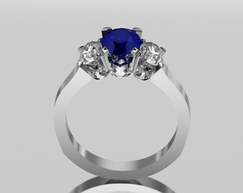 14 Carat White Gold Three Stone Saphire Ring With Accent Stones ESD12