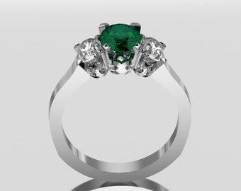 14 Carat  White Gold Three Stone Emerald Ring