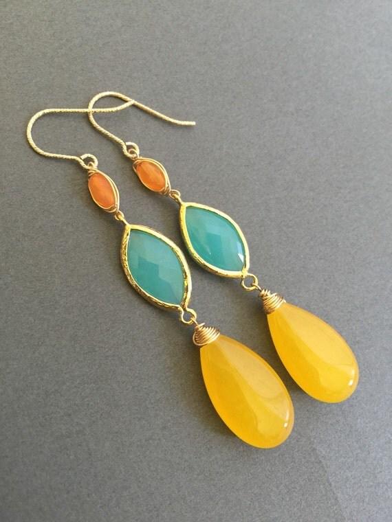 yellow jade gemstone earrings bezel framed mint opal