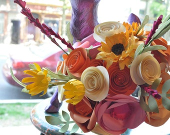 Bridal Bouquet Paper flower Bouquet  alternative bouquet, fall wedding flowers, fall bridal bouquet