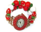 Strawberries and Cream Chunky Beaded Watch, Interchangeable Beaded Watch, BeadsnTime, Red Bracelet Watch, Double Strand Watch, Unique Gift