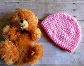 Baby Beanie Crochet Newborn Hat Light Pink with Dark Pink Trim