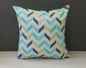 Aqua Blue Chevron Pillow: Green, Blue, and Grey Herringbone Throw Pillow, Summer Accent Pillow, Modern Nursery Decor, 18 x 18 inch