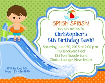 Water Slide Boy Invitation (updated) - Personalized Custom Water Slide Pool Party Birthday Invitation - Print Your Own