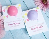 Baby Shower Favor with EOS lip balm - Personalized Printable Favor Tag Template - Balloon Girl Baby Shower Thank you favors