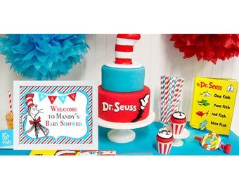 Welcome Sign Dr Seuss Baby Shower Printable Welcome Sign Cat in the hat Baby Shower Decoration-size 8x10-PRINTABLE