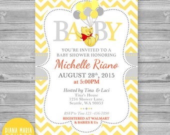 Baby Shower Invitation Winnie The Pooh   Printable Yellow Chevron Invites    Winnie The Pooh With