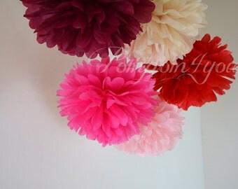 5 Tissue POM POM Set + 3 FREE Poms // Choose your Colors // Wedding Decor // Nursery Decor // Bridal Shower // Party Decor