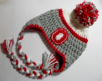 Crochet (Infant-Adult) Ohio State Team Colors Hat Baby Adult Earflap Hat Boys Girls Winter Hat OSU Fan Tassel Hat