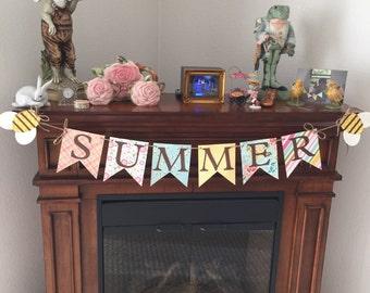 Summer banner, summer, banner, home decor banner, home decor, photo prop banner, photo prop, sign, garland, summer garland