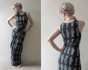 Hand Printed Jersey Wrap Maxi Dress - 'Tarot' print - Black
