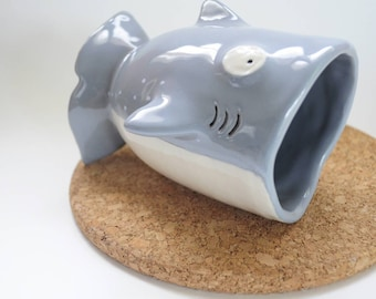 Baby shark ceramic mug, Grey Shark ceramic mug