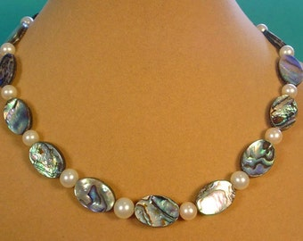 "16"" Treasures of the Sea Abalone and Pearl Necklace - N362"