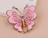1PCS Bling Pink Crystal Butterfly Flatback Alloy accessories Jewelry material supplies