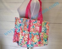 Monogrammed Coral Reef Utility Tote- Monogram Diaper Bag- Monogram Carry All