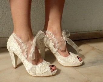 """Wedding Shoes - Bridal Shoes Embroidered Ivory Lace with Pearls and Ribbons, 4""""Heels"""