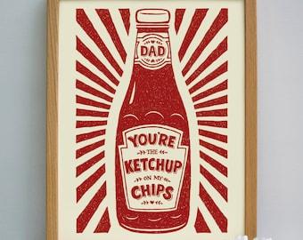 Dads Gift Ketchup Print