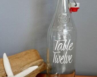 CUSTOM Wedding Water Bottle Drink Table Number Glass Bottle Vintage Bottle PERSONALIZED Drink Jug 750ml Water Bottle (One)