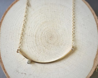 Golden Curve Necklace with White Topaz