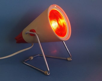 SALE Retro lamp / red and white adjustable heat lamp with chrome stand. Infraphil KL7500A by Phillips Made in Holland / Australia