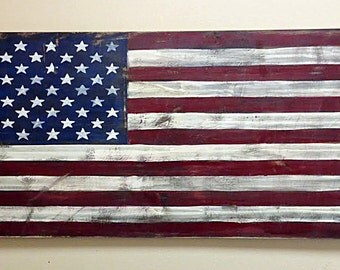 Old Glory American Flag -Distressed Rustic Handpainted Wood Sign 17x36