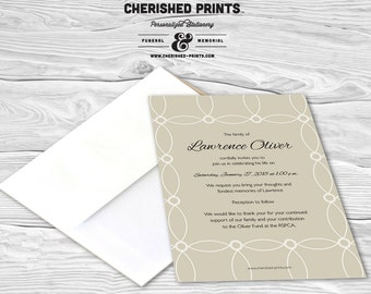 Beautiful Interlocking Circles Mourning Cards for Memorial Funeral Announcements or Invites