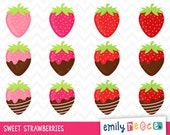 80% OFF SALE Strawberry Chocolate Icing Fruit Sweets Cute Clip Art, Instant Download, Commercial Use