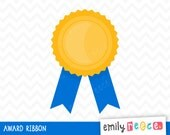 Award Ribbon Winner Gold Medal Cute Clip Art, Instant Download, Commercial Use