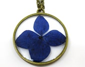 Blue Hydrangea Pendant Necklace - Real flower encased in resin - Resin Jewelry - Pressed Flower Jewelry - Open Back Resin Pendant