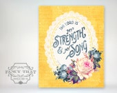 8x10 art print - The Lord is My Strength & Song - Floral, Lace Doily-Aged Typography Poster Print - Scripture / Bible Verse Proverbs 118:14