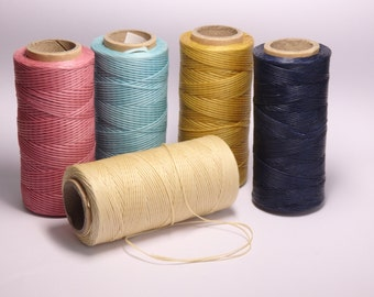 10 yds. Waxed cotton cord for jewelry making, sewing leather goods, waxed cotton cord in summer shades - choose your colours! TEN YARDS!