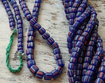 "Indonesian handmade glass beads - BLUE, 24"" strand of striped blue glass beads, SMALLER size, ethnic, Boho jewelry supplies, artisanal beads"