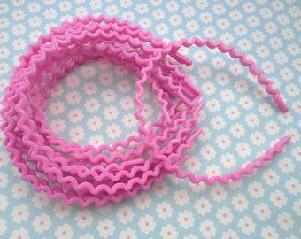 20 pcs hot pink color the wave shape plastic Headband 5mm Wide