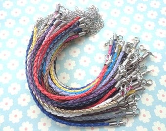 200 pcs 3mm 7 - 9 inch adjustable mixed colors  faux braided leather bracelet with lobster clasp