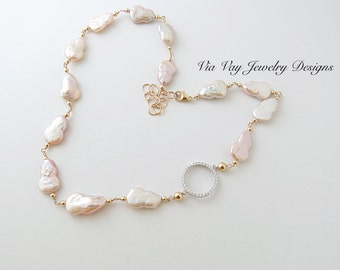 Gold Wire Wrapped Freshwater Pearl Necklace and Gold Filled
