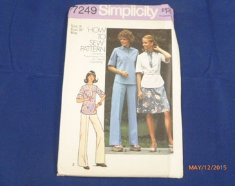 7249 Simplicity SZ 14 Bust 36 Miss How To Sew Pattern Misses Pullover Top Short Skirt Pants Vintage 1975 Uncut