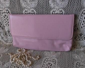 1980's Vintage Pale pink clutch purse, retro purse