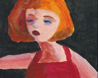 Original Acrylic Painting: Lady in Red