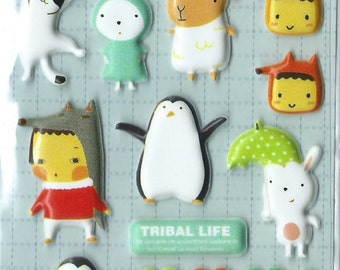 Japanese/ Korean Puffy Sticker:  Penguins and Friends