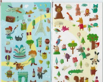 Japanese / Korean Puffy Sticker- Bonjour or Animal Land